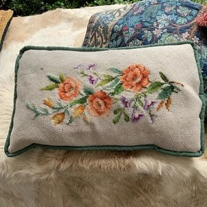 Needles point Rose accent pillow.